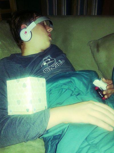 Winters victim. Sleepyhead PoorBaby ColdSeason Snoring Tissues Feeling Sick Musicmode