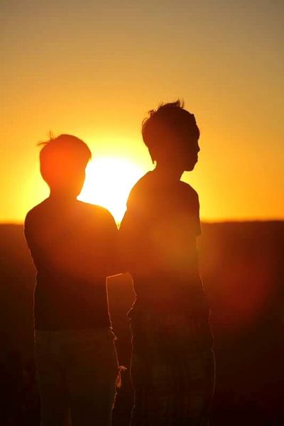 Sunset Men Standing Scenics Mountain Peak Shadow Shillouette