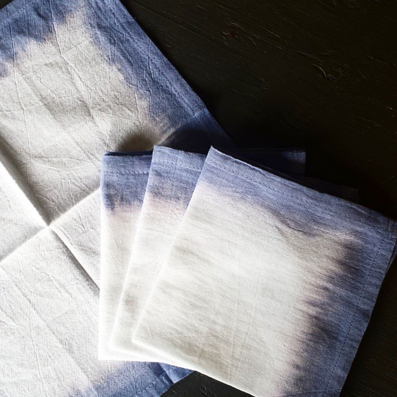New patterns coming...living on the edge here☆☆☆ Patioseason JacandJil Handmade Textiles Ombre Napkins Linens Pillows Cushions  Home Decor Vacationchic Colour Indigo Shibori DipDye Gardenpartytime Outdoor Dining Table Events Party Wedding Styling Bridal @Etsy MothersDay