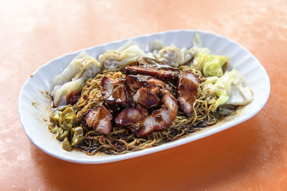 Char Siew Wanton Noodles Bowl Char Siew Close-up Day Food Food And Drink Freshness Healthy Eating High Angle View Indoors  Meal Meat No People Noodle Noodles Plate Pork Ready-to-eat Serving Size Still Life Table Vegetable Wanton Wanton Mee Wanton Noodles