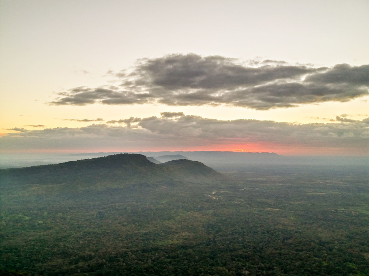 Landscape Mountain Trees Sky Sun Sunset Forest View High Cambodia Pranom Rung Phamoeidang