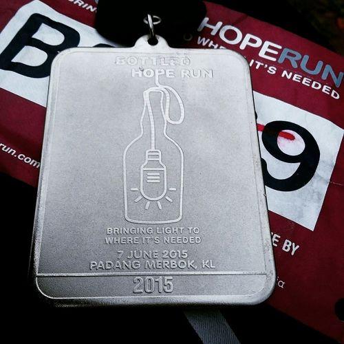 Bottledhoperun2015 Yesterday Finisher Medal Funrun Padangmerbok Runwithyourheart EatPrayRun Iamthefatrunner My Hobby Nevergiveup