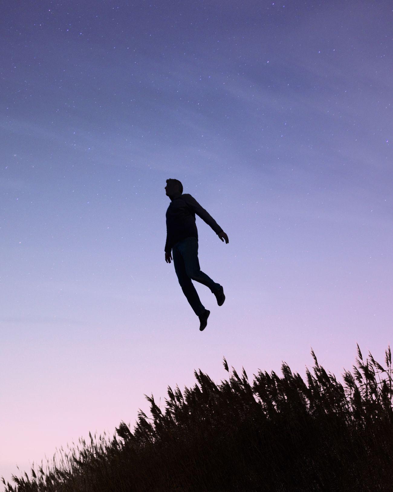 Sky Nature Outdoors Night Jump Take Off Reeds Dune Du Pyla Bassin D'Arcachon Rêverie Dream Dreaming Stars & Dreams Stars EyeEm Best Edits EyeEm Best Shots EyeEmBestPics TheWeekOnEyeEM Silhouette Escaping Dusk Night Photography Nightphotography