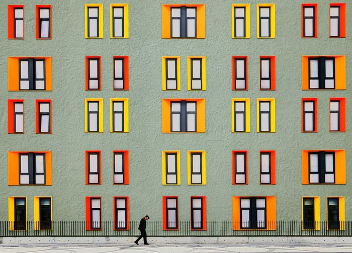 Beautifully Organized Building Exterior Multi Colored Architecture Window Apartment Built Structure Outdoors City No People Day