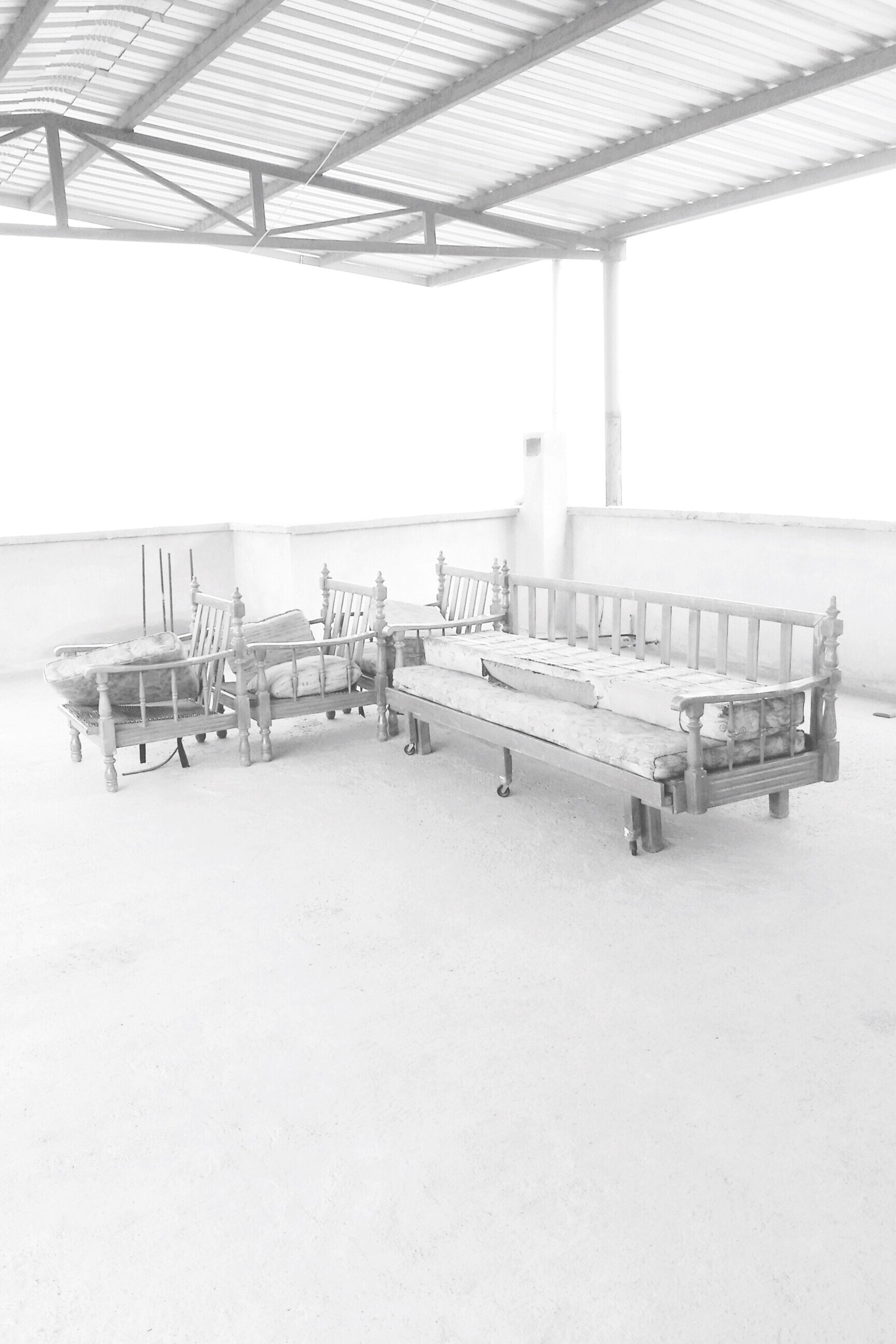 empty, absence, day, in a row, outdoors, seat, nature, no people, tranquility, sky, tranquil scene, arrangement, sunny, side by side