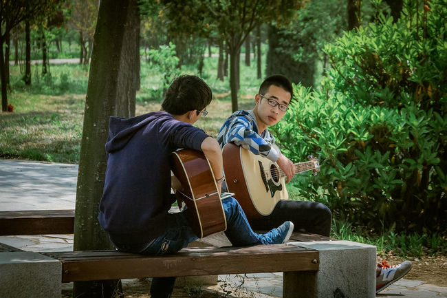 Two college students play guitar on campus. Bonding Casual Clothing Day Friendship Green Color Guitar Instrument Leisure Activity Lifestyles M Person Practice Sitting Togetherness Tree Young Adult