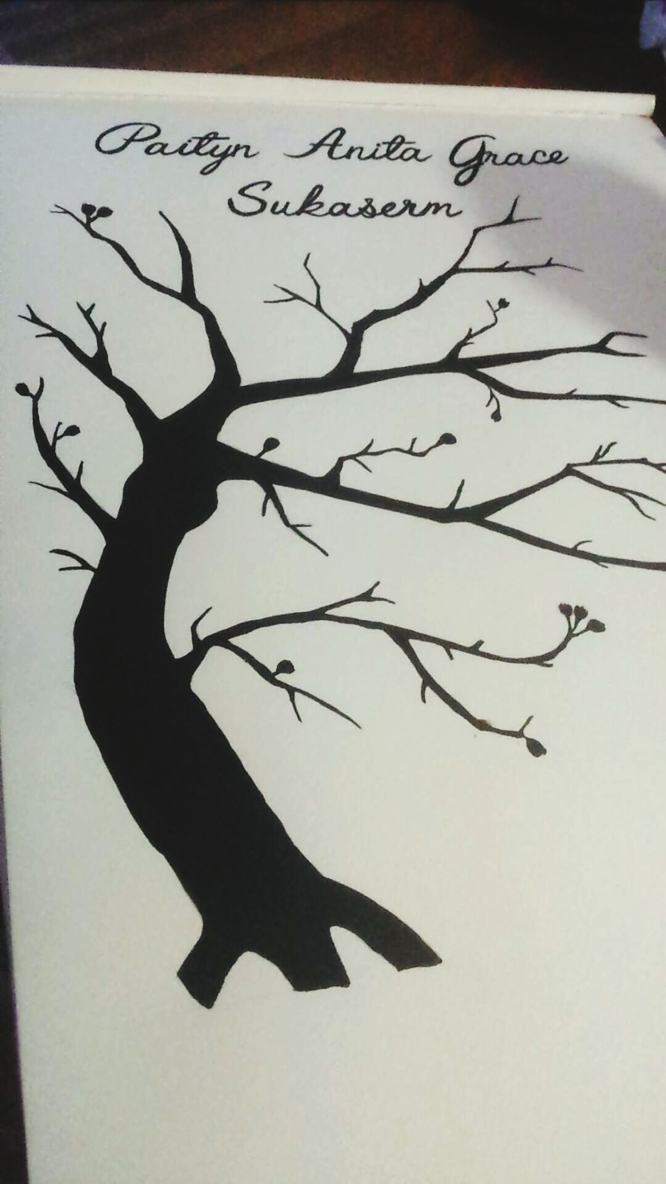 Hand painted naming day fingerprint tree and letters..harder than it looks...gor me it is anyway Painting ArtWork Unfinished_art Unfinished Work... Treesilhouette Tree HandPainted