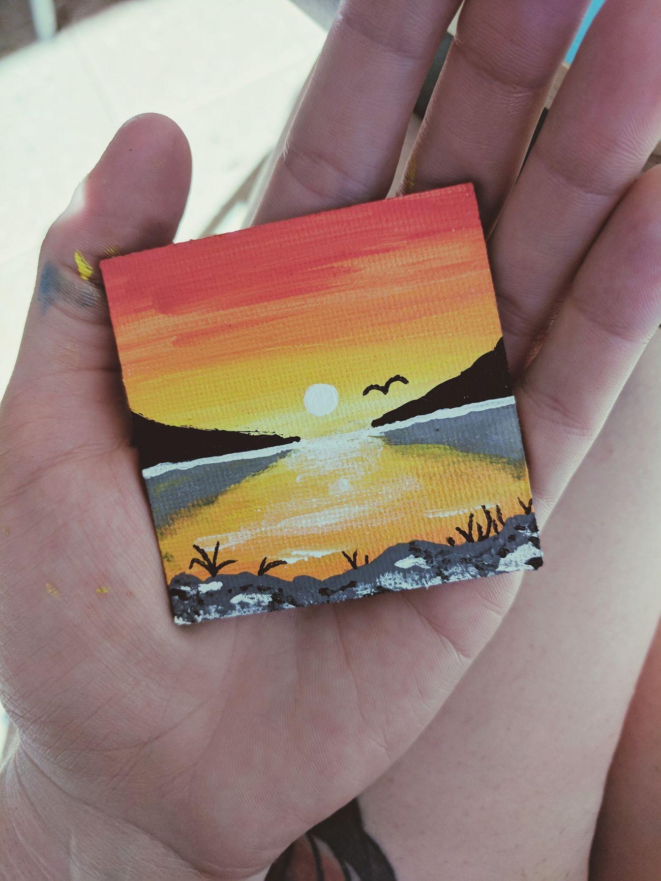Painting Acrylics Sunset Skyline Tiny Fridgemagnet
