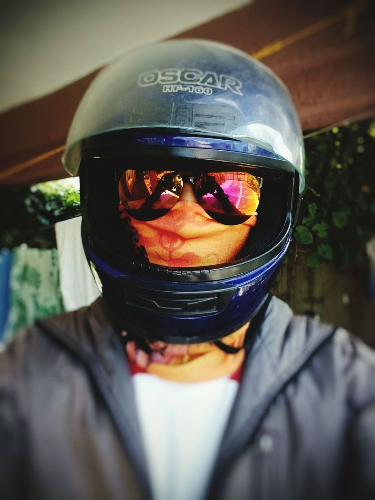 Just got home from school. LPUcavite Biker Motorcycle Blue Helmet Orange Chillin' Hot That's Me Mobilephotography
