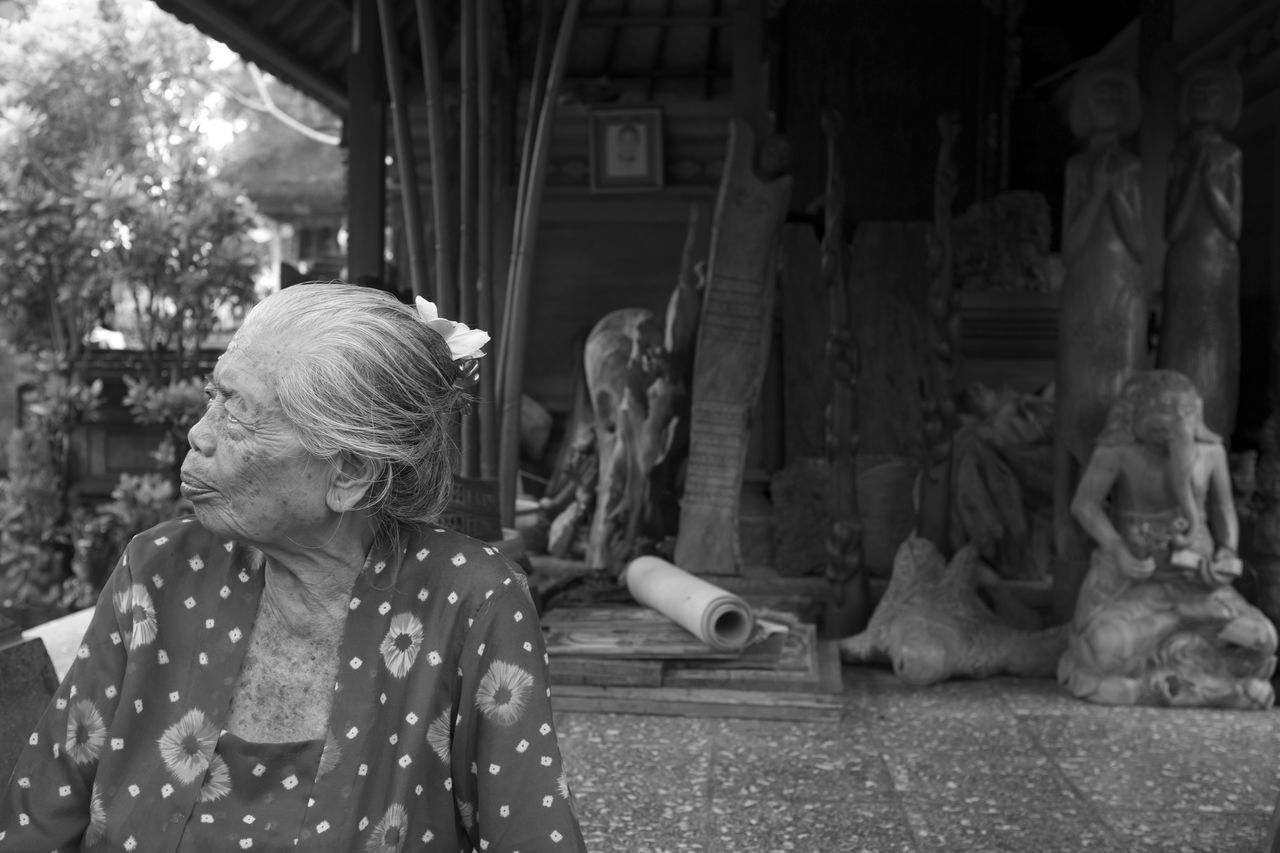 Ethereal Portraits of the Women of Bali published on the March 2017 issue of LE Magazine. Full essay here http://liveencounters.net/2017-le-mag/03-march-2017/mark-l-chaves-capturing-visages-mystery/ B&W Portrait B&w Street Photography Bali Bali, Indonesia Balinese Woman Black And White Day Documentary Editorial  Elderly Woman INDONESIA Lifestyles Monochrome Natural Light Portrait One Person Outdoors Photo Essay Portrait Of A Woman Real People Sculpture Statue Wise Woman Women Who Inspire You