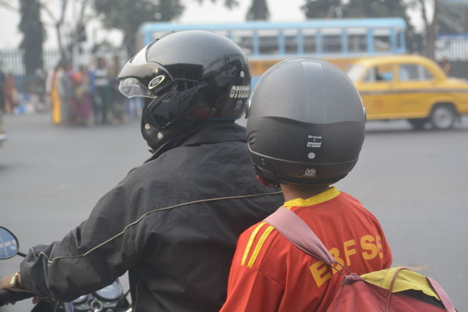 Up Close Street Photography Noeditat a Redlightin Kolkata Near Victoria Memorial Waiting For Redlightto Become Green Father & Sonon a Bike Telling Stories Differently Two Is Better Than One