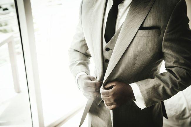 Button Up Wedding Suit Hotel Tie Black White Shirt