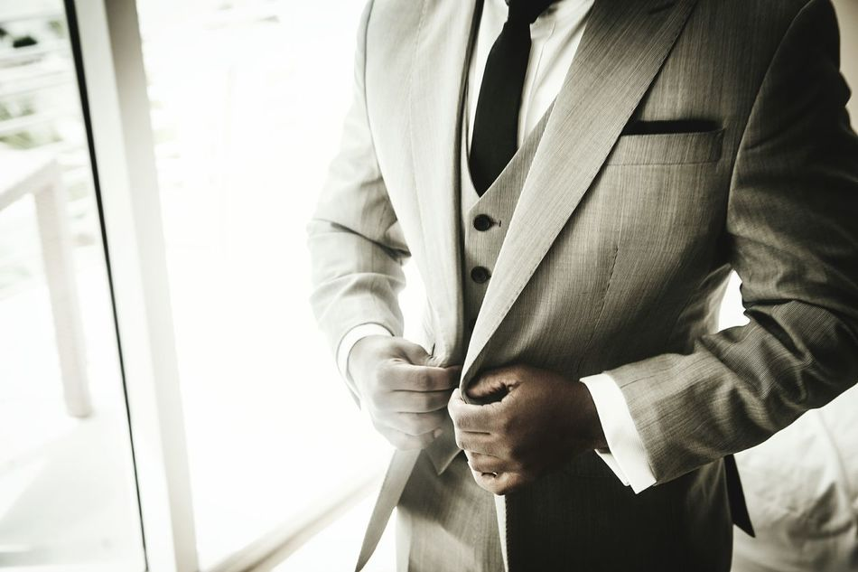 Button Up Wedding Suit Hotel Tie Black White Shirt