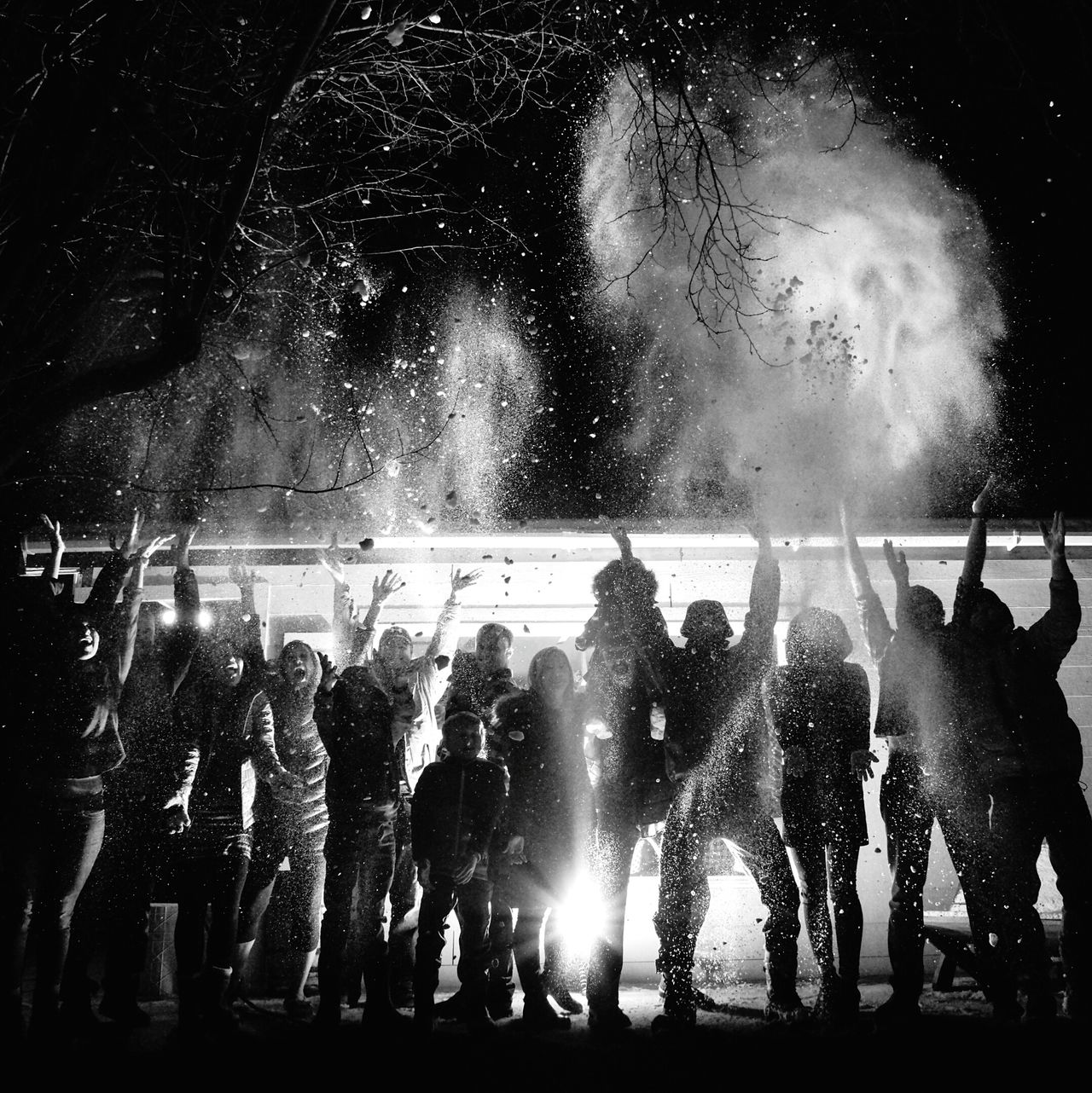 My Year My View Celebration Large Group Of People Outdoors Performance Celebration Event Celebrating Joy Joyful Moments Excitement Real People Group Photo Snow Backlit Flash Photography Bw Photography Laughing People Laughing Out Loud Togetherness Nighttime Friendship Snow Sports