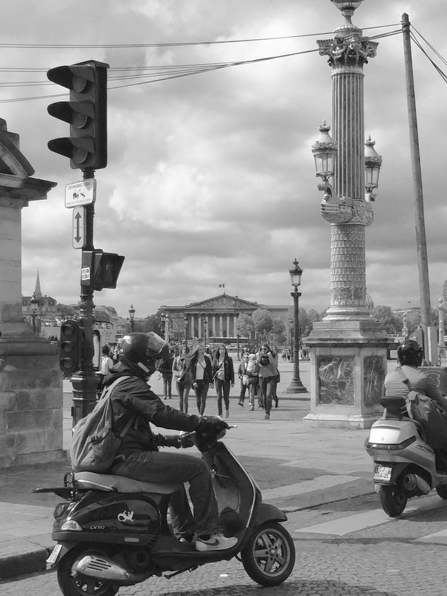 Architecture Blackandwhite City Cityscapes Famous Place Outdoors Paris Scooter Seeing The Sights B&w Street Photography