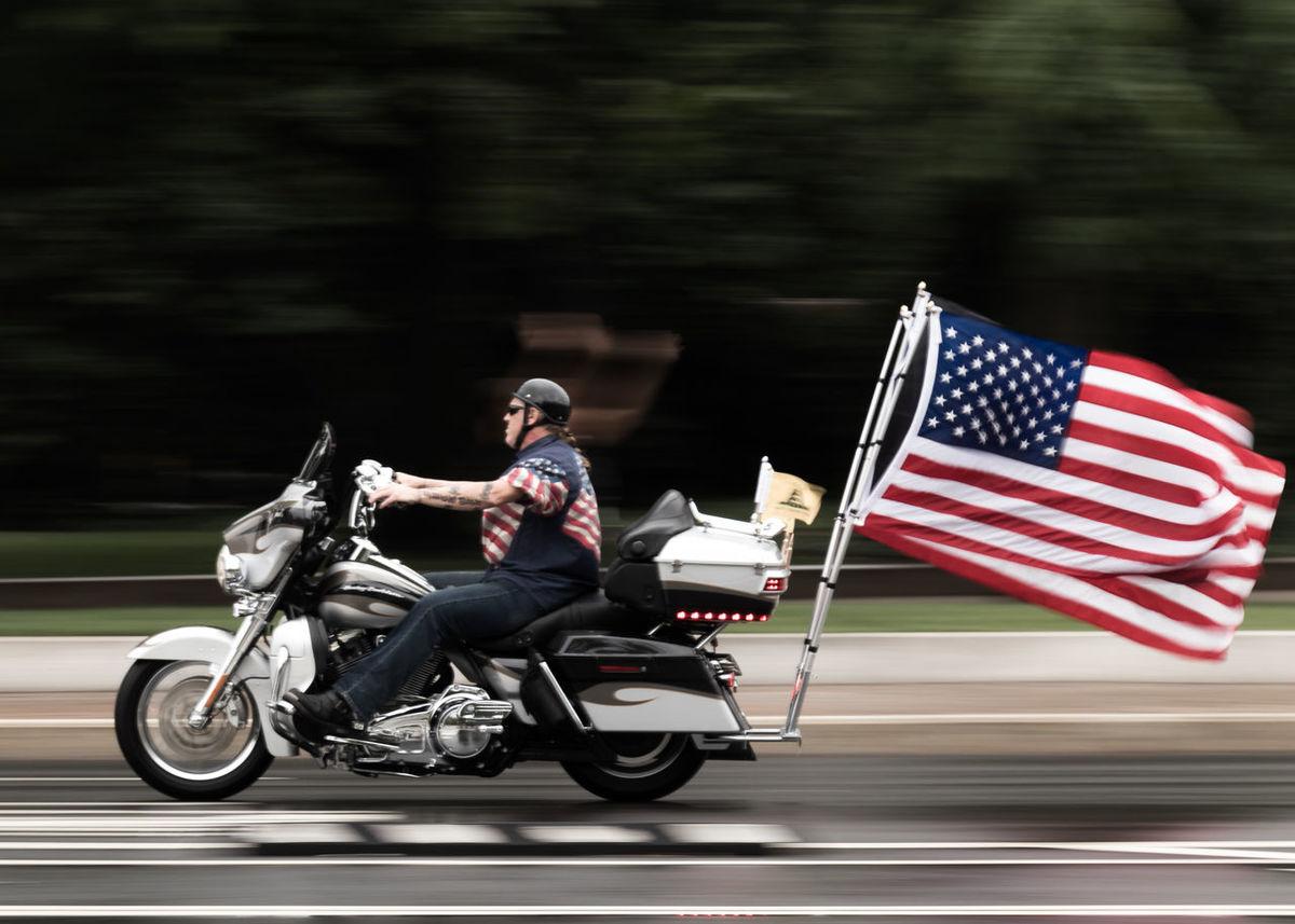 Harleydavidson Motorcycle Outdoors People Powmia Rollingthunder Veterans Washington DC