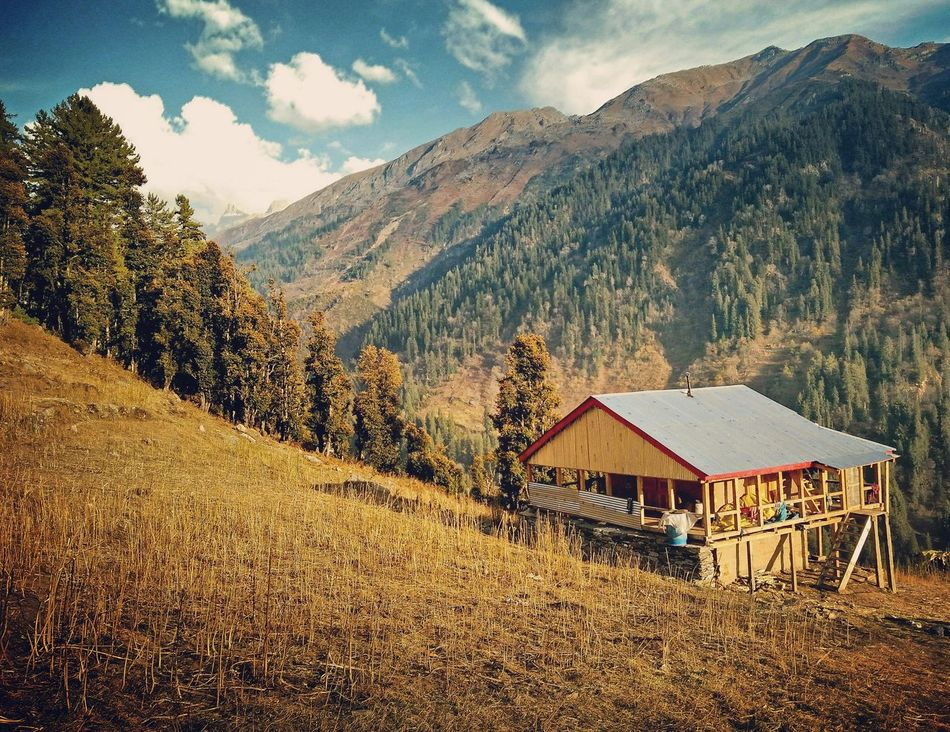 A warm place. Weichen Valley, Kullu, Himachal Pradesh, India Sunset Nature Outdoors Mountain Landscape Architecture Sky Tree Sunlight Himalayas Non-urban Scene