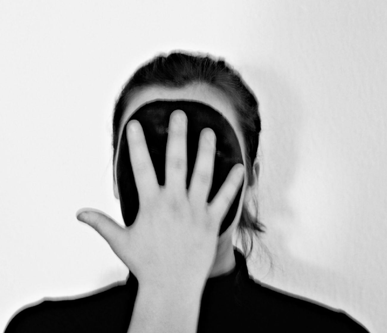 Obscured Face White Background One Person Hands Covering Eyes One Woman Only Covering Women Face Tensed Young Adult Human Hand Day