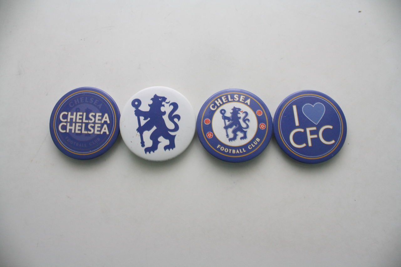 Chelsea Football Club merchandises Badge Blue Cfc Chelsea Chelseafc Close-up Communication Day Indoors  London Love No People Studio Shot Text White Background
