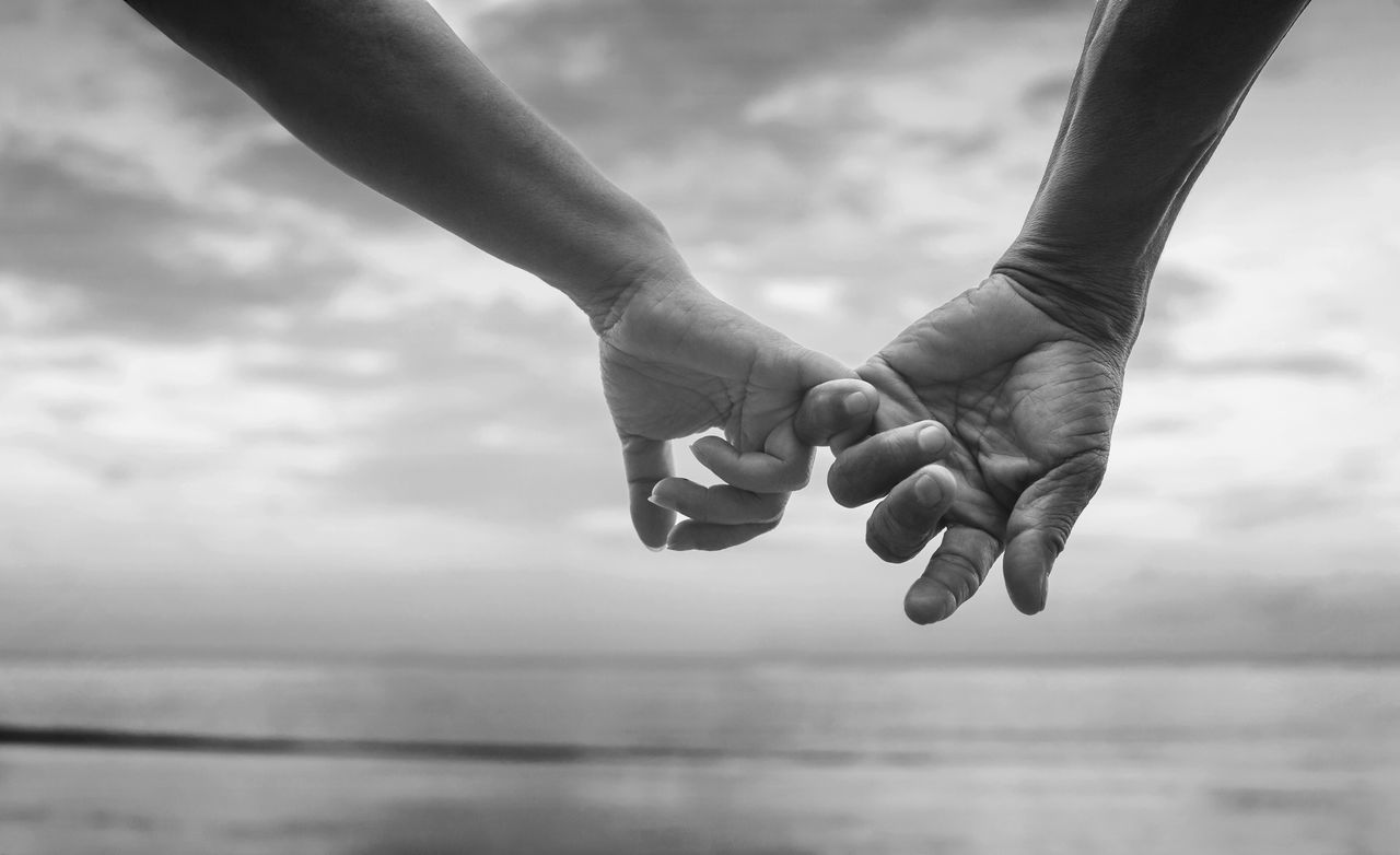 close up hand of senior couple hook each other's little finger together near seaside at the beach,black and white picture color. selective focus. love forever concept Black & White Couple Forever Love Adult Black And White Blackandwhite Bw Close-up Concept Day Human Body Part Human Hand Love Love Concept Love Forever Men Nature Outdoors People Real People Sea Sky Two People Water