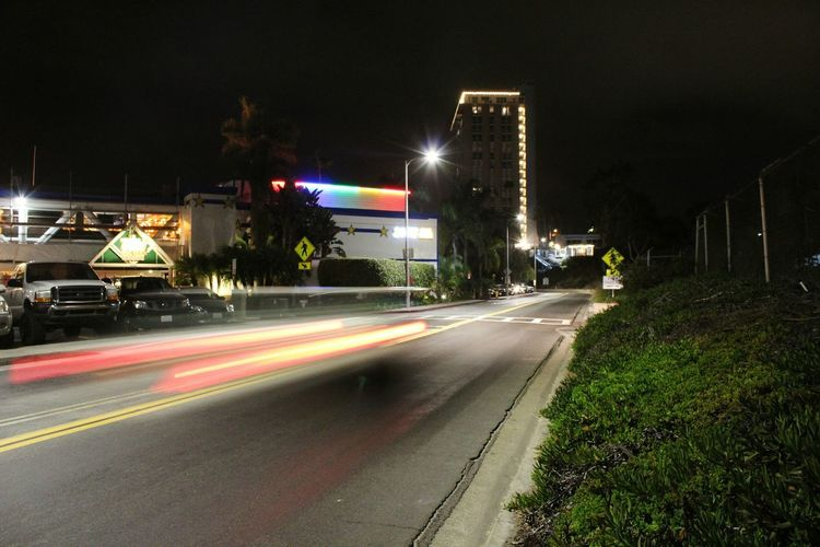 Night Long Exposure Light Trail Illuminated Speed Motion City City Street No People Road Outdoors Cityscape Urban Skyline Building Exterior Architecture Sky Oceanside, Ca Oceanside Vacations Leisure Activity Marina Bay