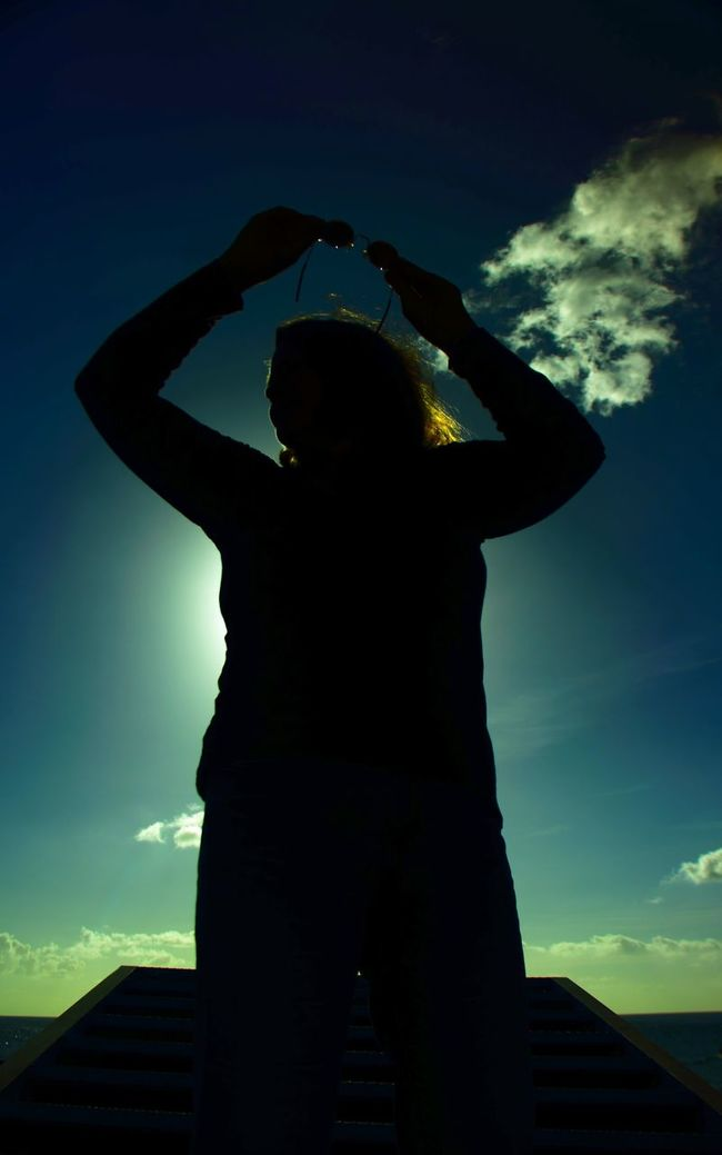 Clouded (But Not In My Mind) Arms Up Azores Back Lit Blue Sky Cloud Cloud - Sky Contrasting Colors Female Model Low Angle View Outdoors Outline Pedestal Santa Cruz Das Flores Stairway Sunglasses ✌👌 Sunlight People And Places