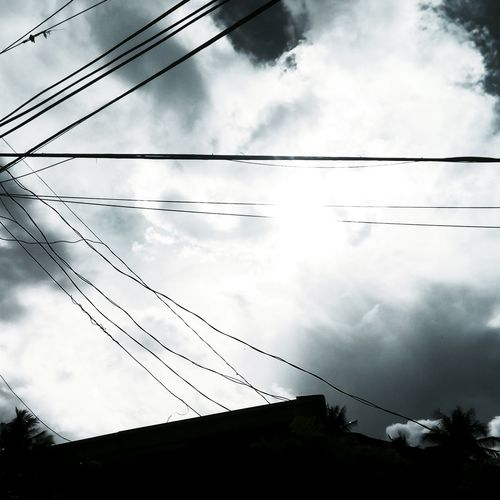 Low Angle View Cloud - Sky Cable Power Line  Sky Cloudy Nature Cloudscape No People High Section Scenics Outdoors Power Supply Power Cable Day Outline Black & White Powerlines Electricity  Electric Wire