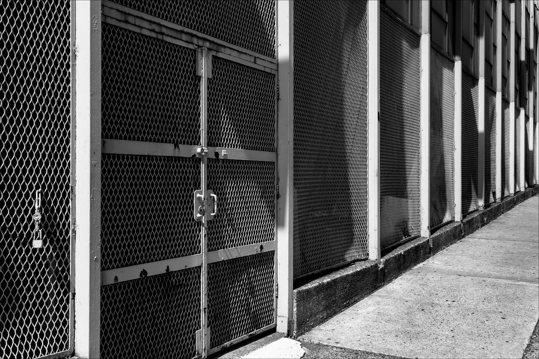 Security gates NY Public School Architectural Detail Black And White Metal Gates Protection School Security Security Gates