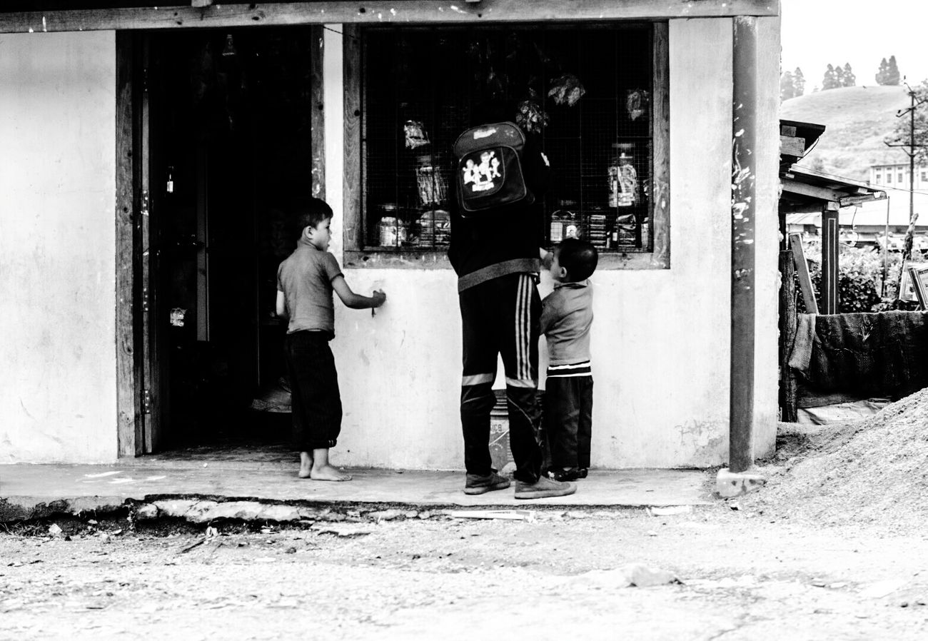 Two People Adults Only Adult Full Length Men Built Structure Togetherness Only Men People Day Barber Domestic Life Body Care Architecture Outdoors Building Exterior Young Adult Emotions Captured Monochrome World Monochrome_life Monochrome _ Collection Monochrome Photography Childhoodmemories Children Photography Children Only