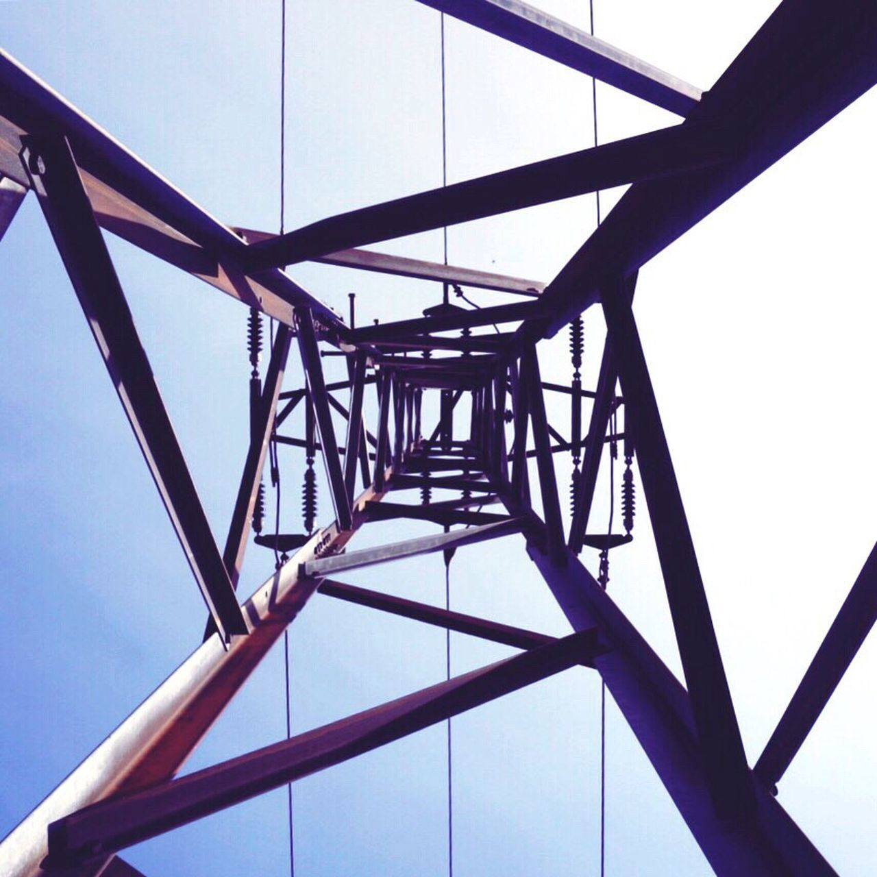 metal, low angle view, connection, day, built structure, no people, cable, outdoors, architecture, sky, girder