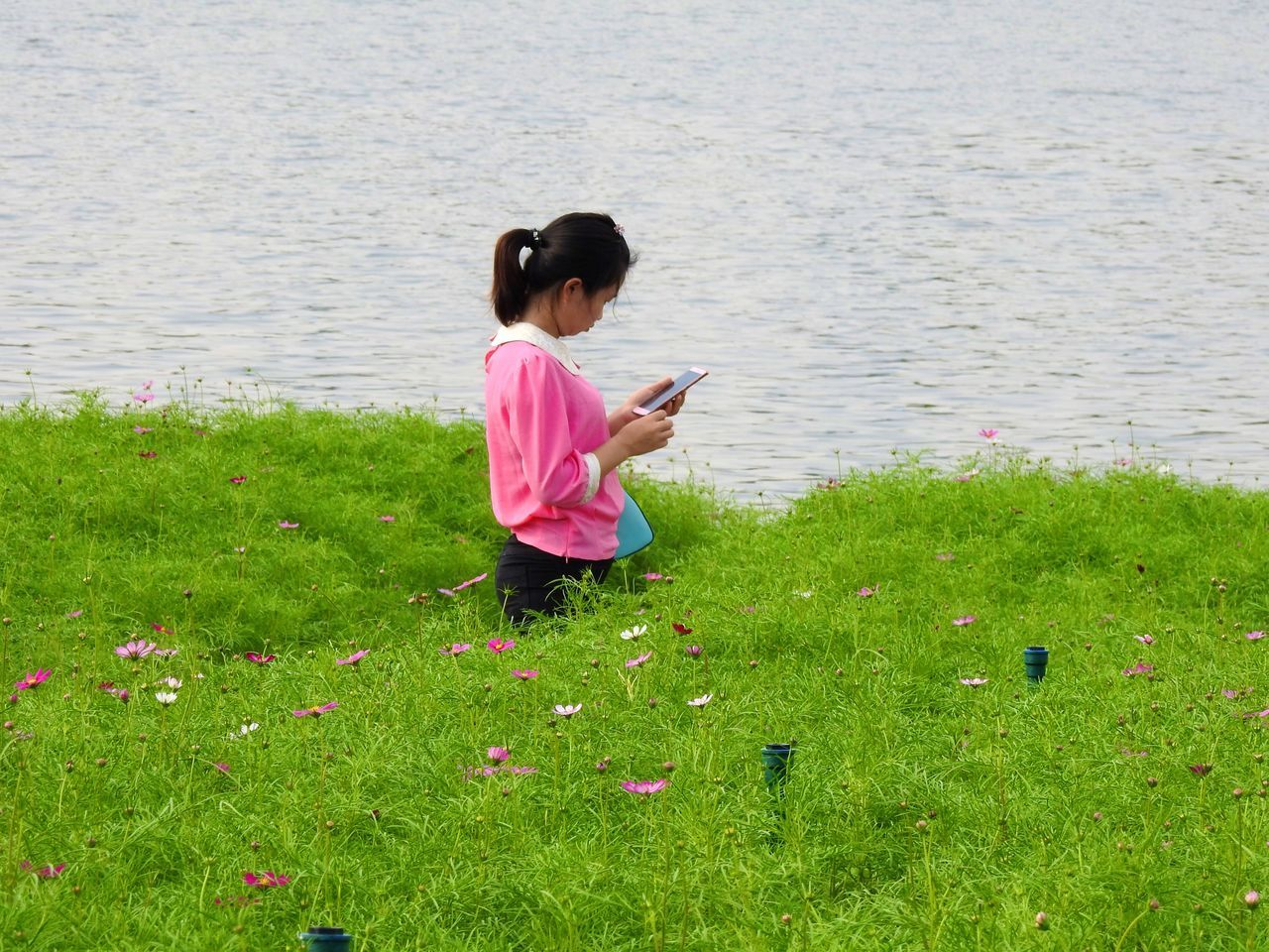 Wireless Technology Technology Grass Communication Digital Tablet Water One Person Lake Holding Nature One Girl Only Childhood Learning Girls Outdoors Day Sitting Child People Children Only