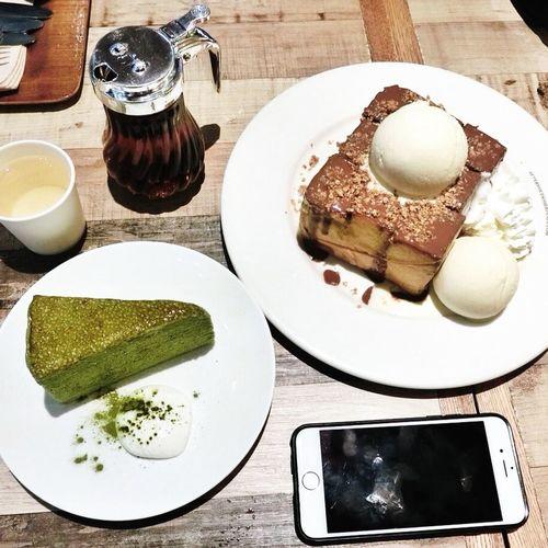 Nutella Toast Toast Green Tea Mille Crepe Afteryoudessertcafe Bangkok Thailand Centralworld Dessert Onthetable