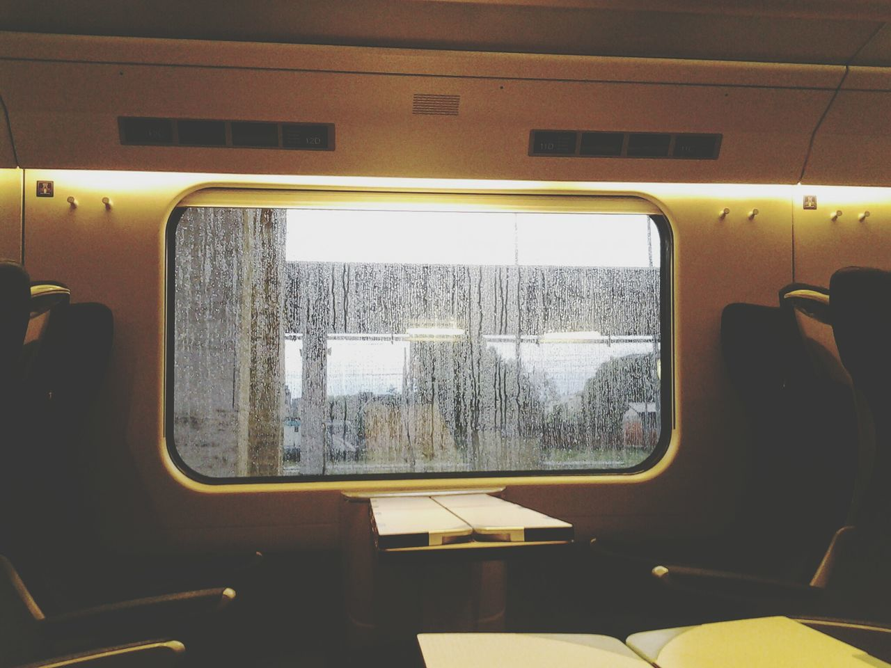 Train Compartment Traveling Rain Out The Window Rain Outside