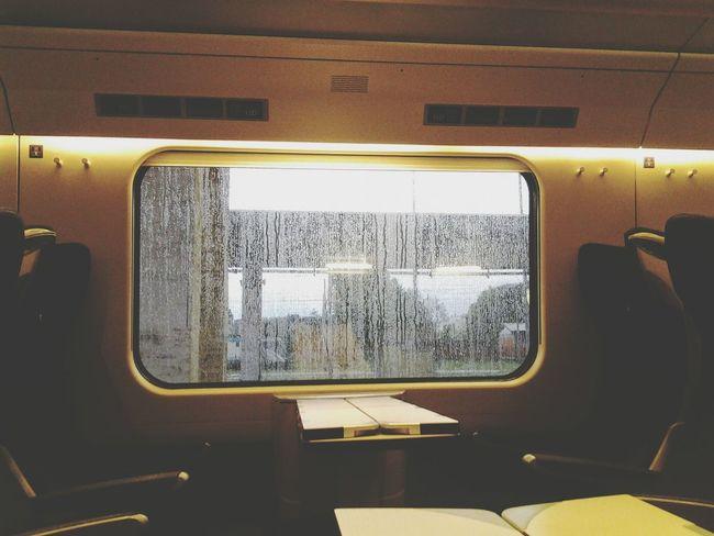 Train Compartment Traveling Rain Out The Window Rain Outside