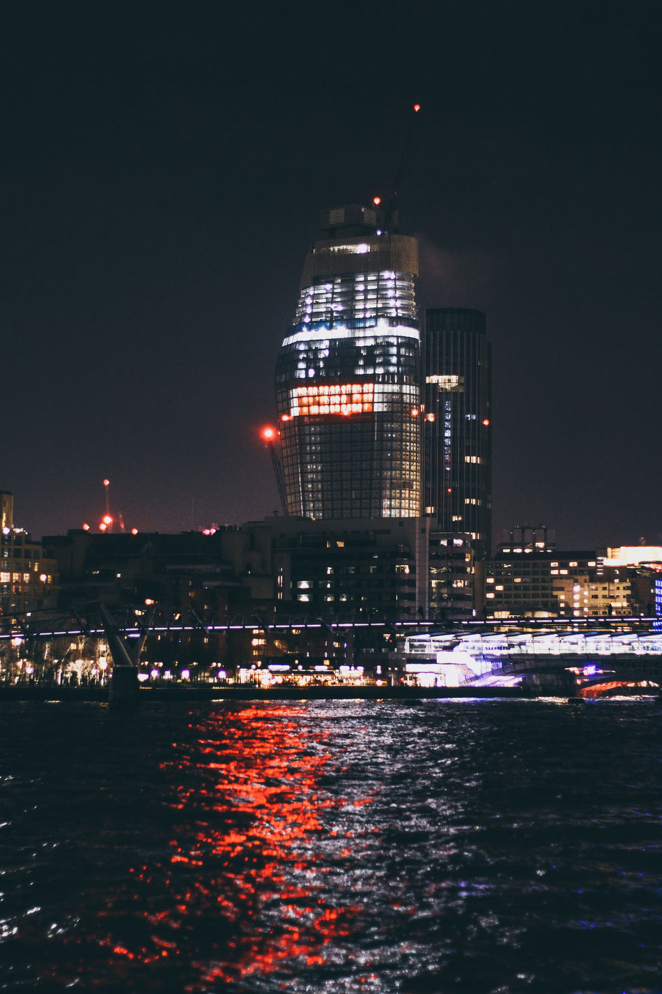 One Blackfriars Night City Water Sky Architecture Skyscraper Business Finance And Industry Office Building Exterior Lights River London Lithuanian Street Photography Architecture Tones Of Colour Urban Built Structure Urban Skyline Streetphotography Travel Blackfriars