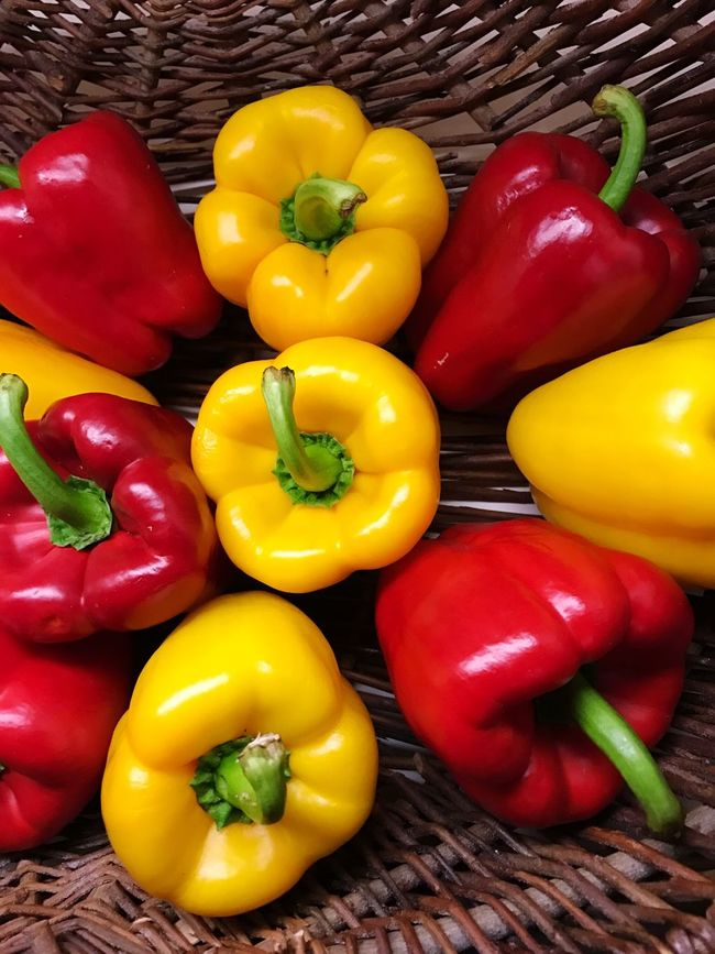 Bell Pepper Bell Peppers Freshness Food And Drink Vegetable Healthy Eating High Angle View Food Red Variation For Sale Yellow Bell Pepper Choice Yellow Red Bell Pepper Abundance Large Group Of Objects Retail  Vibrant Color