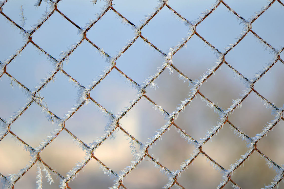 Frozen fence... Protection Security Safety Metal Sky Pattern Full Frame No People Backgrounds Close-up Day Outdoors Nature Fence Fence Pattern Chain-link Fence Frozen Frost Frosty Icy Freshness Winter Cold Temperature Intricacy Simplicity