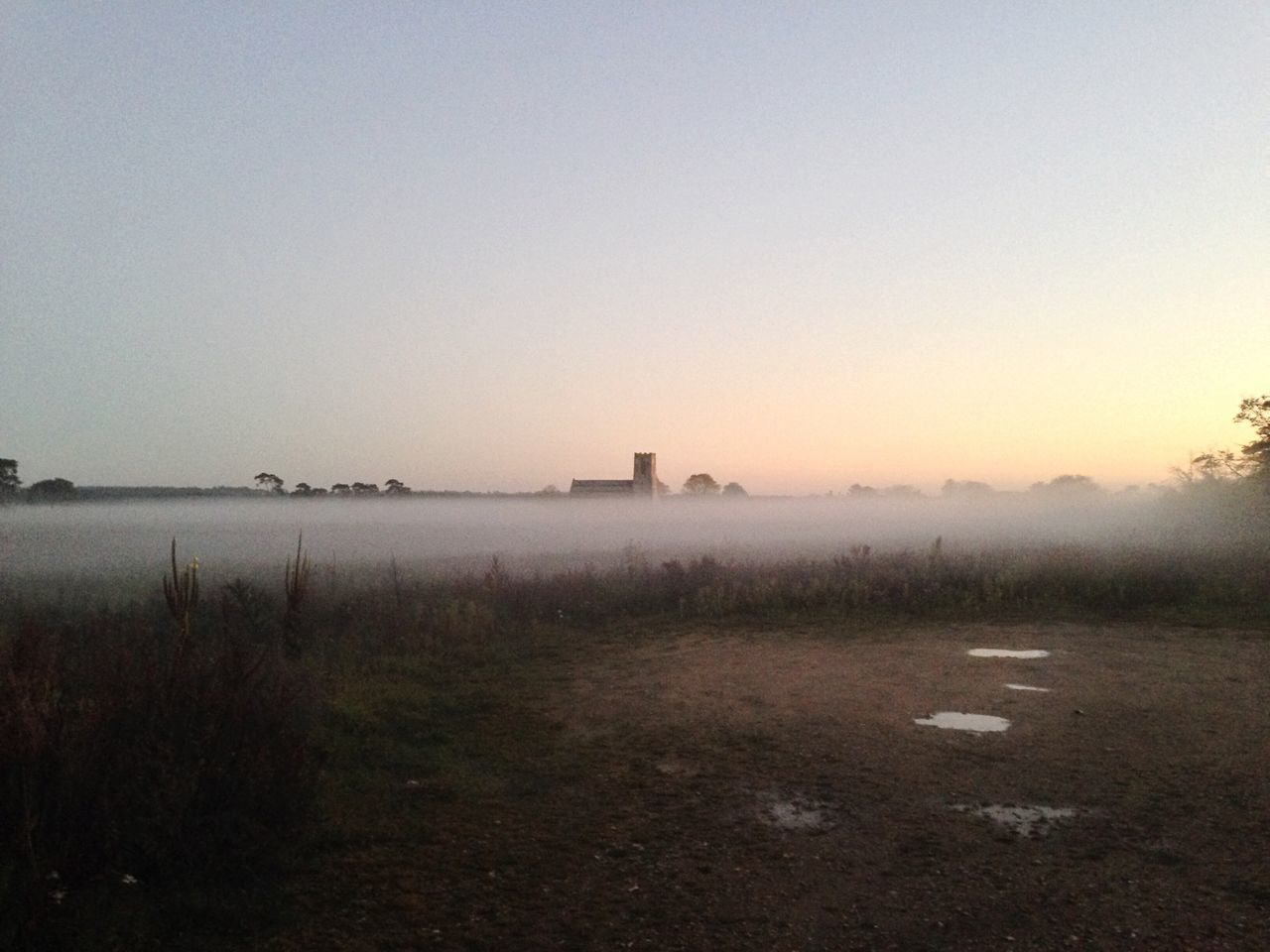 Church Wangford Fog Mist Twilight Fog Twilight