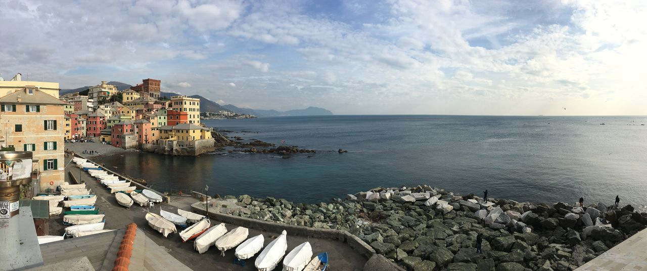 Boats Boccadasse No People Outdoors Panorama Sea Sky Water
