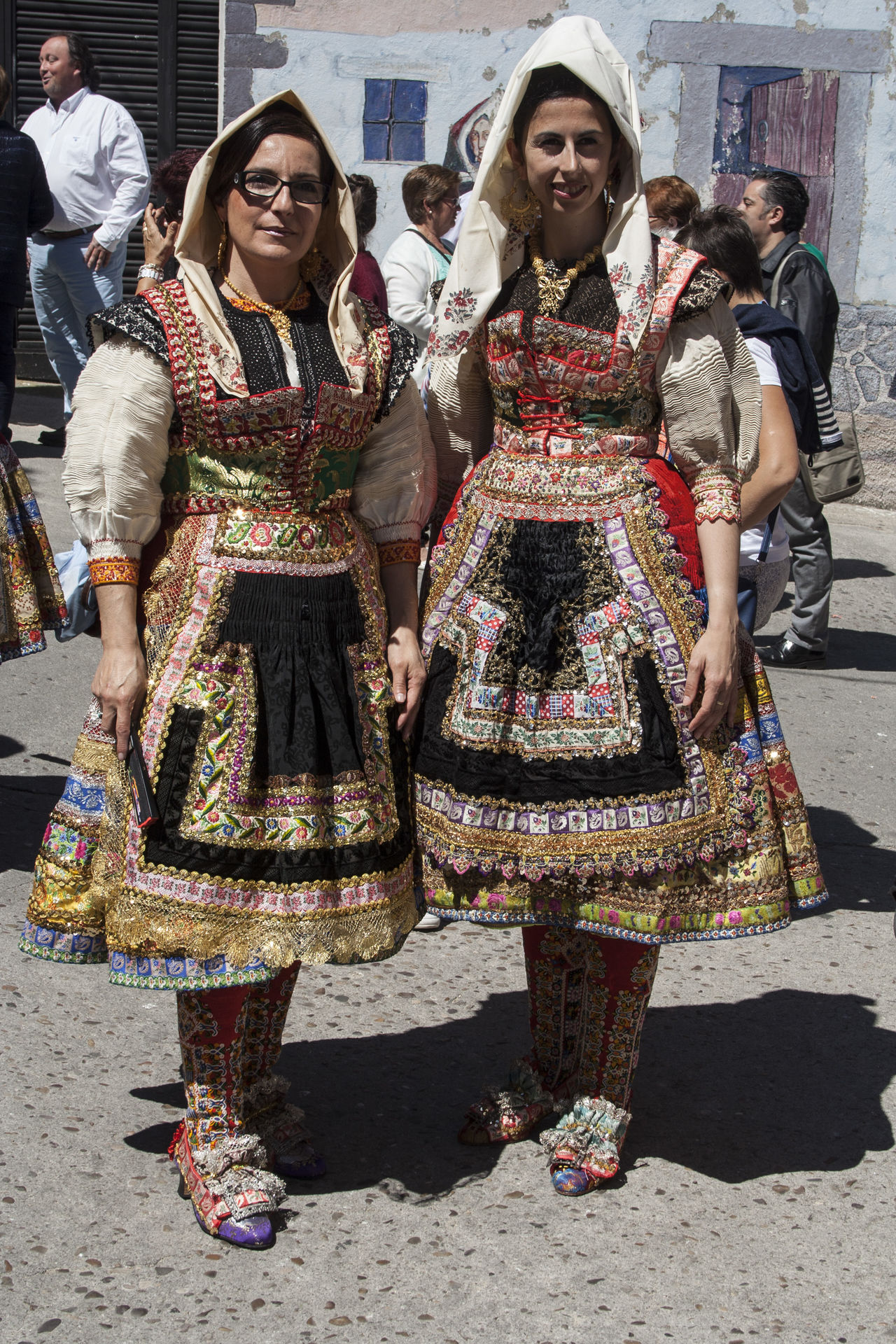 Architecture Building Exterior Day Friendship Front View Full Length Happiness Lagartera Lagartera Costumes Lagarterana Leisure Activity Lifestyles Looking At Camera Mid Adult Multi Colored Outdoors Portrait Real People Smiling Standing Togetherness Traditional Clothing Women Young Adult Young Women