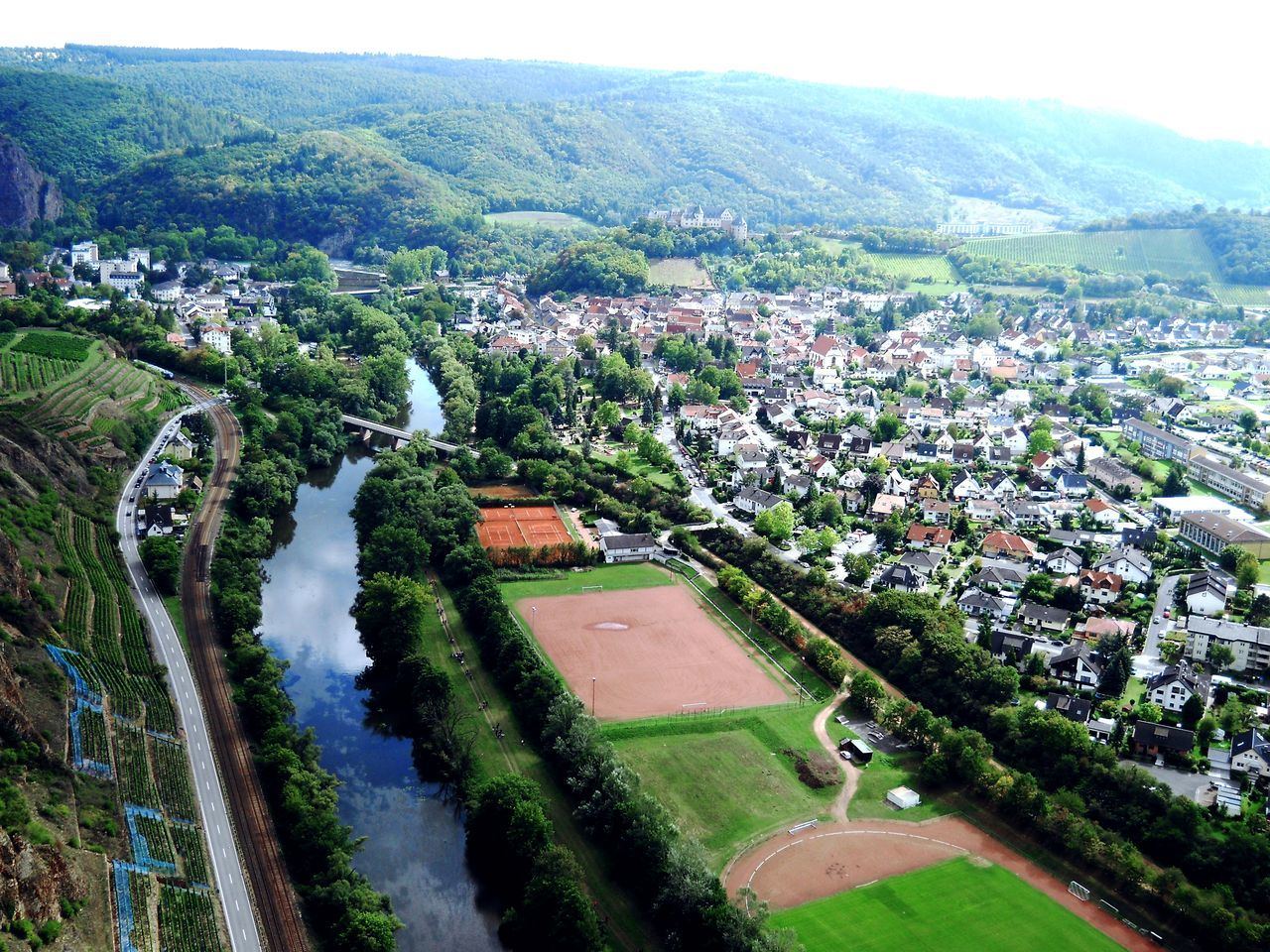 Bad Münster Am Stein Rheinland-Pfalz  Germany🇩🇪 Deutschland Town River Train Line Football Field Hills Eagleview EyeEmNewHere