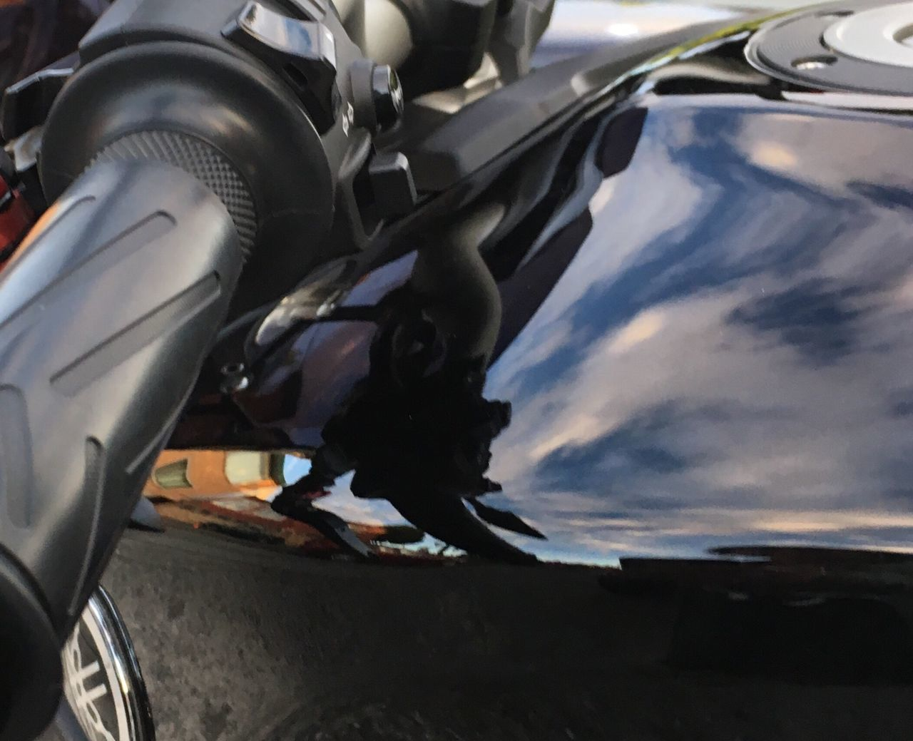 Motorcycle Reflection Mode Of Transport Close-up