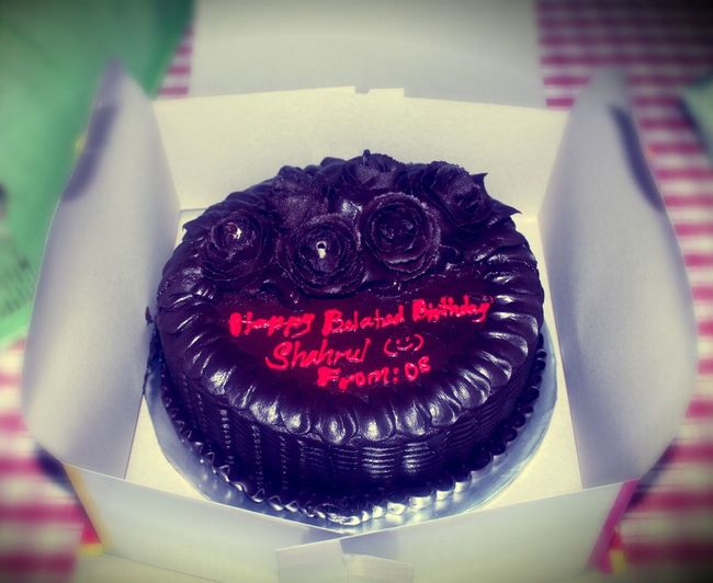 my first first belated birthday cake from a friend of mine. :D