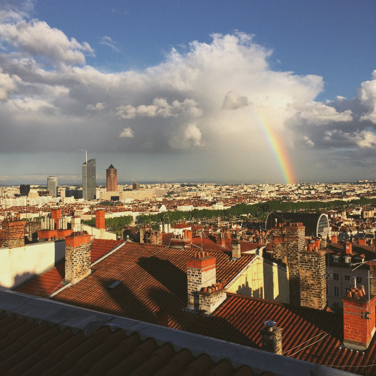 Rain is sad... Architecture Built Structure Building Exterior Crowded Sky Cityscape Cloud - Sky High Angle View City Day Outdoors Residential Building Rainbow Sunlight Town Roof Community Tiled Roof  Lyon France