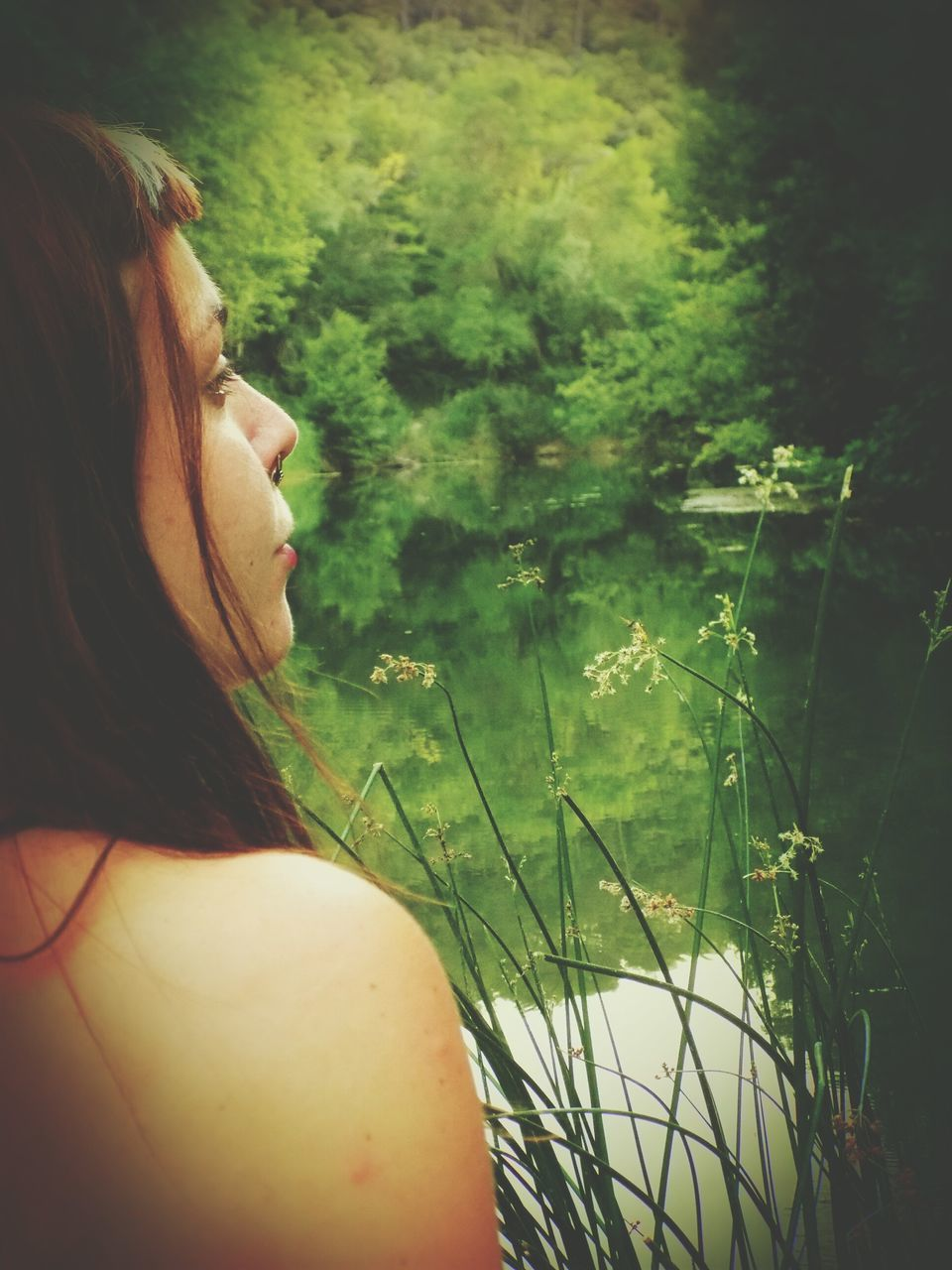 one person, rear view, real people, day, plant, young adult, young women, women, outdoors, nature, beautiful woman, grass, people