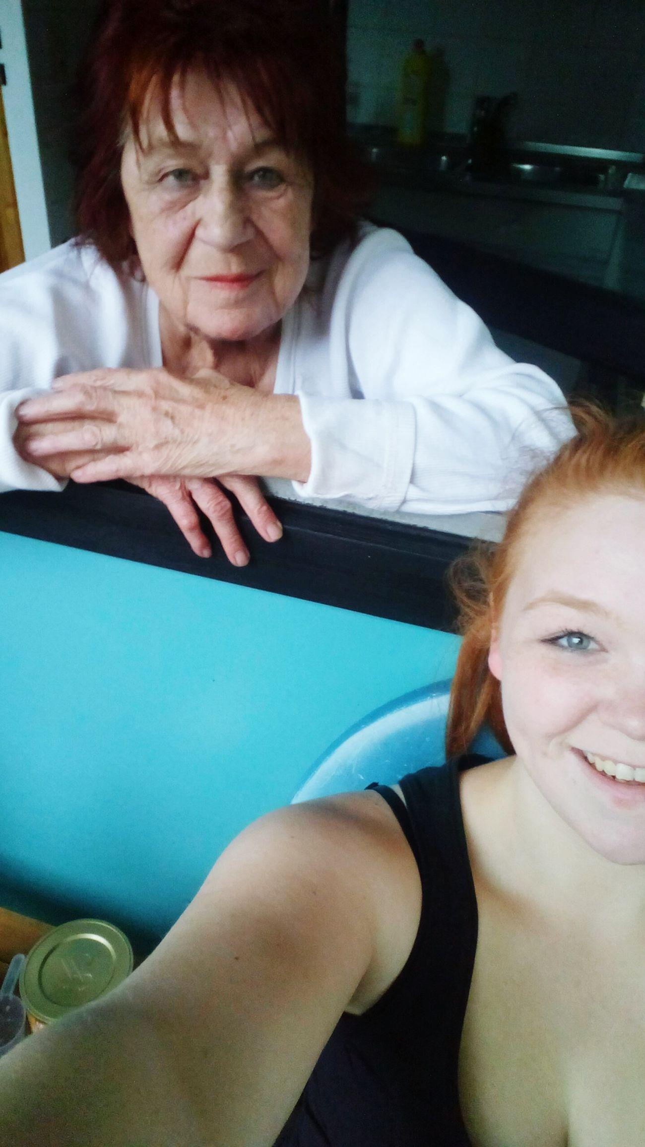 Grandma Love Kitchen Smile Redhead Loughing