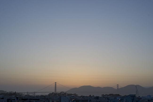Architecture Bridge Cityscape Day Fog Foggy Golden Gate Bridge Nature No People Outdoors Roof Rooftop San Francisco Silhouette Sky Sundown Sunset Sunset_collection Travel Destinations Twilight