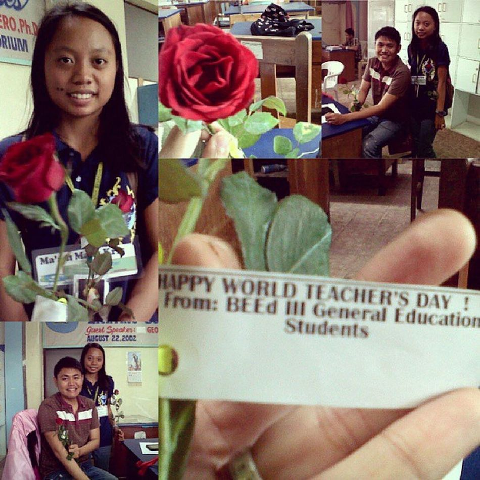 A student came to me and gave me a rose. Worldteachersday pala ngayon. Thank you bebeng for making me feel appreciated.whoever you are, salamat.
