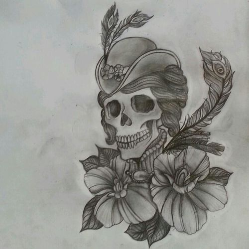 Tattoo design for my sisters friend. A different twist on those victorian skull designs. Tattoo I ♥ my Sketchbook Urban Art Art