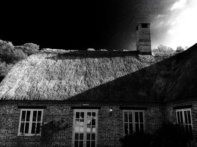 Architecture Building Exterior Built Structure House Residential Building No People Outdoors Sky Nature Day Tiled Roof  Window Plant Sky Thatched Roof Gravel Plants Blackandwhite Black And White Black Balck And White Black & White Blackandwhite Photography Black And White Photography Black&white